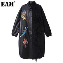 [EAM] femmes broderie paillettes PU cuir grande taille robe nouveau revers à manches longues en vrac mode automne hiver 2021 1DD1863