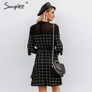 Image 5 - Simplee Elegant office lady plaid dress Ruffled long sleeve mini dress Streetwear straight o neck autumn chic short party dress