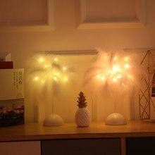 Светодиодная настольная лампа теплый светильник с перьями и