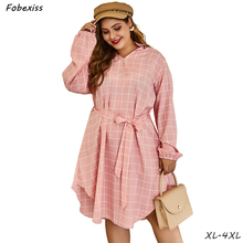 Pink Plaid Shirt Dress Woman Plus Size 4XL Long Sleeve Cotton Belted Midi Dress Spring Sweet New 2019 Clothes Autumn Dress Woman plus flounce sleeve self belted plaid top