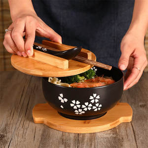 Japanese Style Rice Noodle Bowl with Lid Spoon and Chopstick Kitchen Tableware Ceramic Salad Soup Bowl Food Container Dinnerware