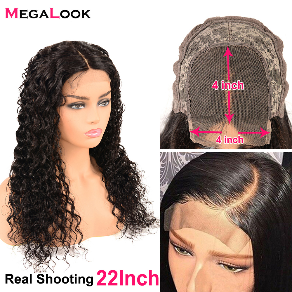 """Brazilian Water Wave Lace Closure Wig For Women Closure Wigs With Baby Hair 150 Density Remy Human Hair 4x4 Lace Closure Wig 30"""""""
