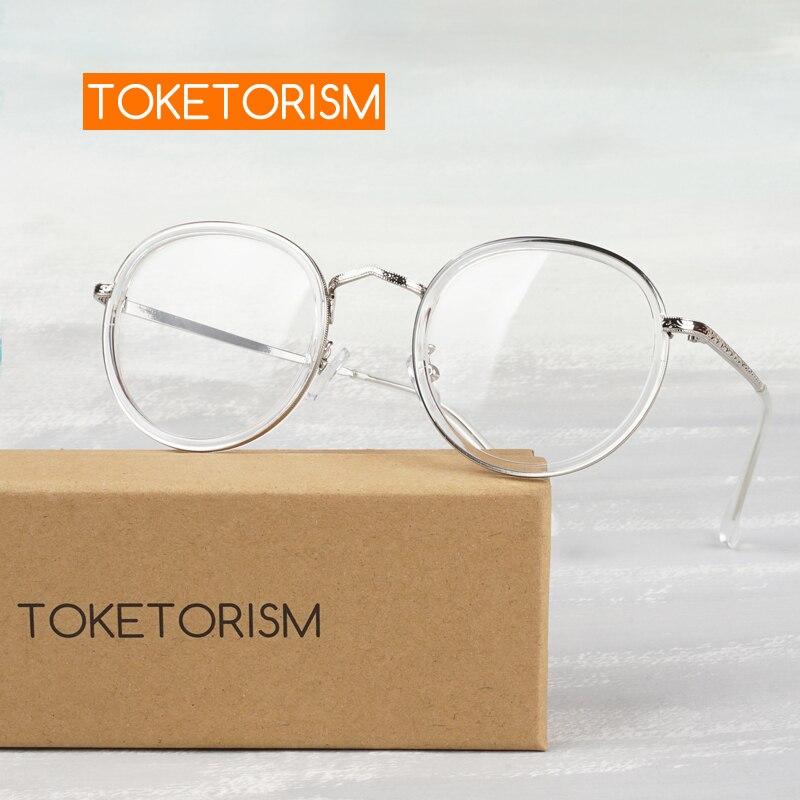 Toketorism Round Transparent Women 's Eyeglasses Prescription Optics Glasses Frames For Men