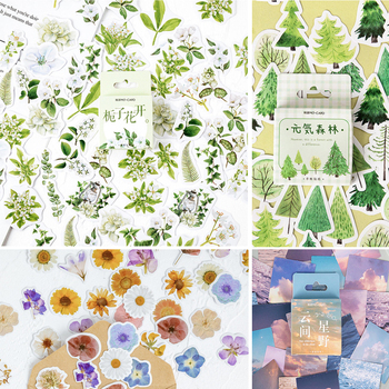 45 Pieces/Box Gardenia Flower Stickers Self-adhesive Various Sticker Manual Account DIY Decoration Seal Paste Scrapbooking - discount item  47% OFF Stationery Sticker