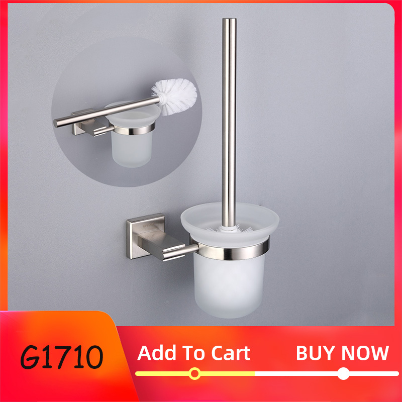 GAPPO Bathroom Toilet Brush Holders Stainless Steel Wall-Mounted Single Brush Glass Cup Holders Bathroom Hardware Accessories