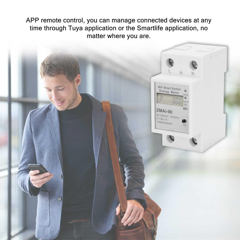 Compteur d'énergie Intelligent de Wifi de Rail Din monophasé consommation d'énergie wattmètre de Kwh fonctionne avec Alexa et Google Home