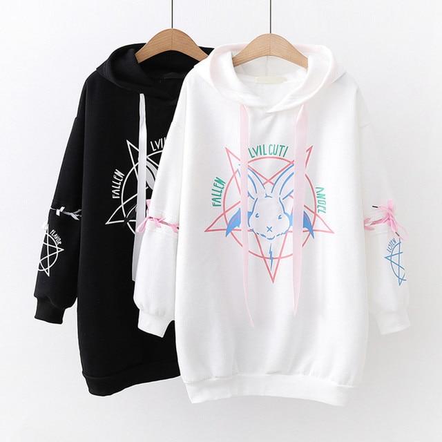 Harajuku Bunny Hoodie Anime Clothing Women's Clothing & Accessories Tops & Tees Hoodies & Sweatshirts cb5feb1b7314637725a2e7: Black|White