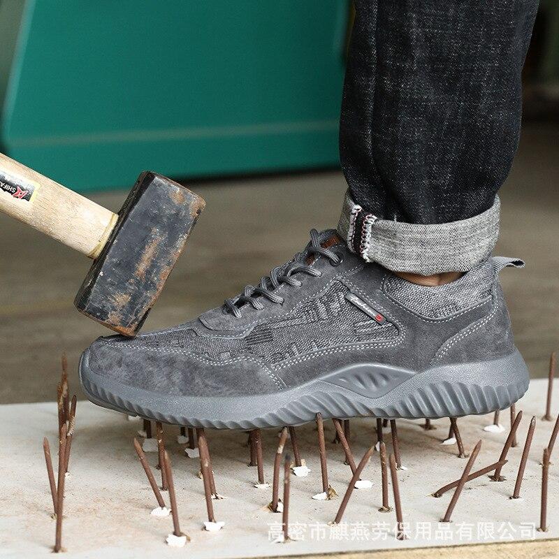Защитная обувь для улицы, противоразбивающая и противопробивающая защитная обувь, Антистатическая дышащая стальная Осенняя защитная