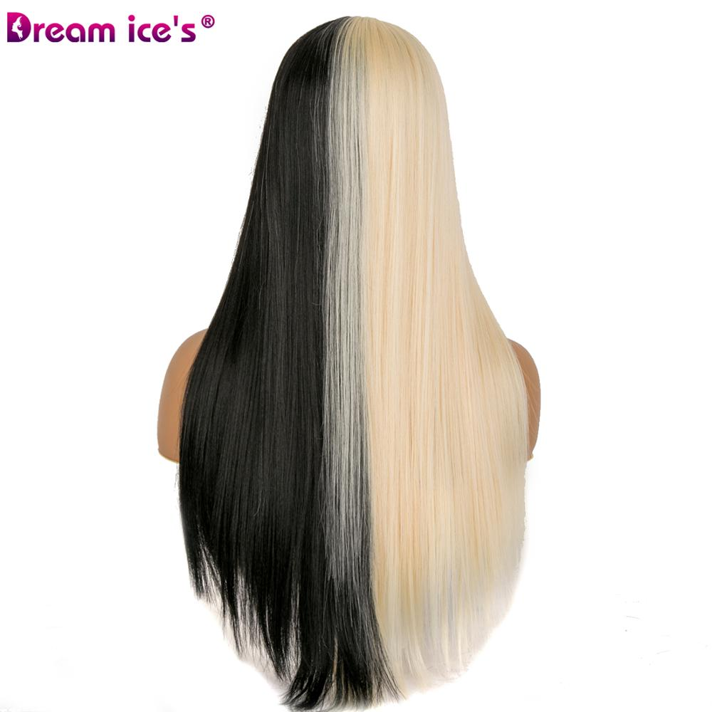Image 3 - Synthetic half black and half white 21 inch long hair party wigs for women cosplay event Dream ice's-in Synthetic None-Lace  Wigs from Hair Extensions & Wigs