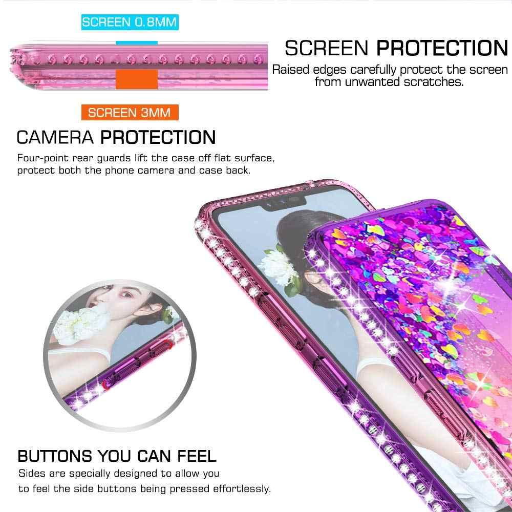 الماس بريق حقيبة لجهاز LG الإبرة 5 4 ستايلس 4 س V40 G7 ThinQ غطاء التدرج الرمال المتحركة غطاء سيليكون ل LG K40 K8 2018 حالة