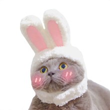 2021 New Funny Pet Dog Cat Cap Costume Warm Rabbit Hat New Year Party Christmas Cosplay Accessories Photo Props Headwear
