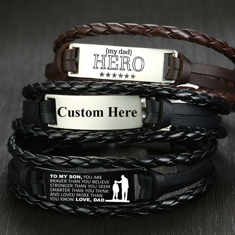 Vnox Custom Leather Bracelets For Men Personalize Stainless Steel Bar Layered Leather Bangle Gents Wristband