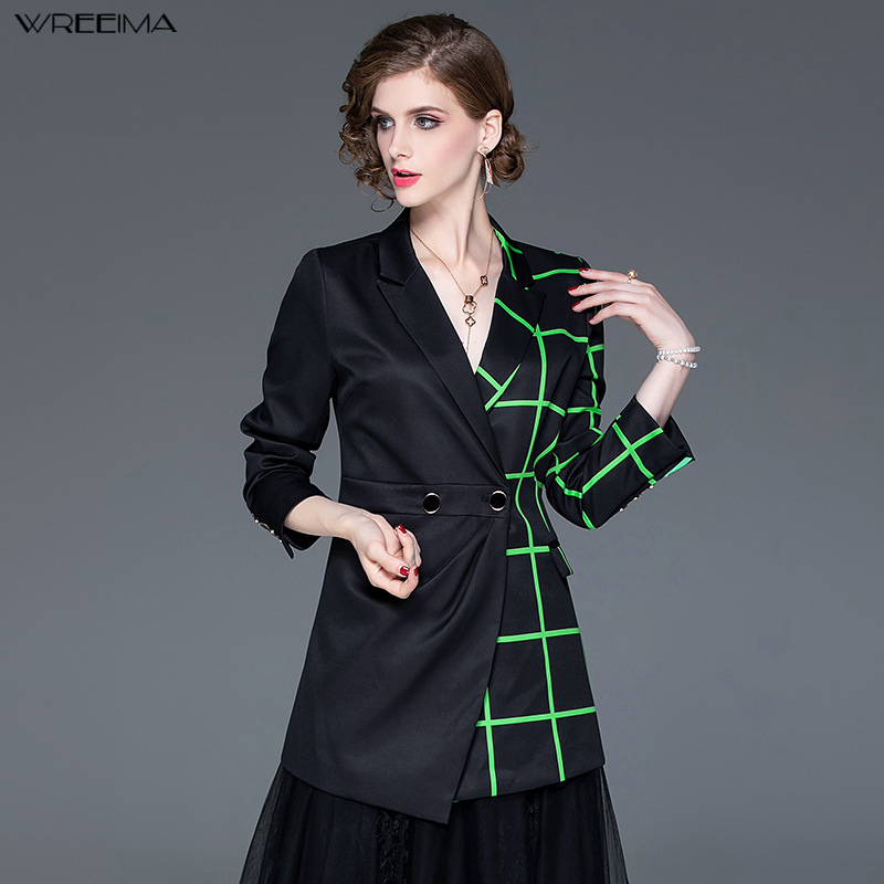 wreeima Autumn office Fashion   Trench   Double-breasted 2019 Black Plaid Patchwork Irregular Medium Long   Trench   Coat women