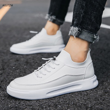 Shoes men 2020 Brand High quality white Men's leather casual shoes Fashion Breathable Sneakers fashion flats youth shoes F08 недорого