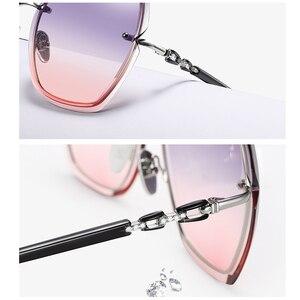 Image 3 - lunette de soleil femme Mode surdimensionné lunettes de soleil femmes 2020 UV400 concepteur sans monture carré lunettes de soleil femme Vintage lunettes de soleil femmes rétro avec boîte Sunglasses Women Miroir Glasses