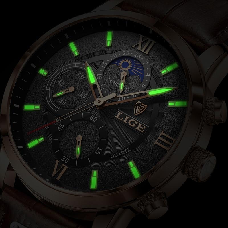 2021 LIGE Men's Watches Top Brand Luxury Men Wrist Watch Leather Quartz Watch Sports Waterproof Male Clock Relogio Masculino+Box 5