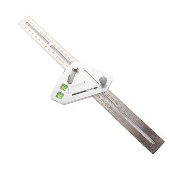 Transportador con regla y ángulo, herramientas de carpintero, techo práctico que revoluciona la carpintería, utensilio de medición multifunción, triangulación de envíos