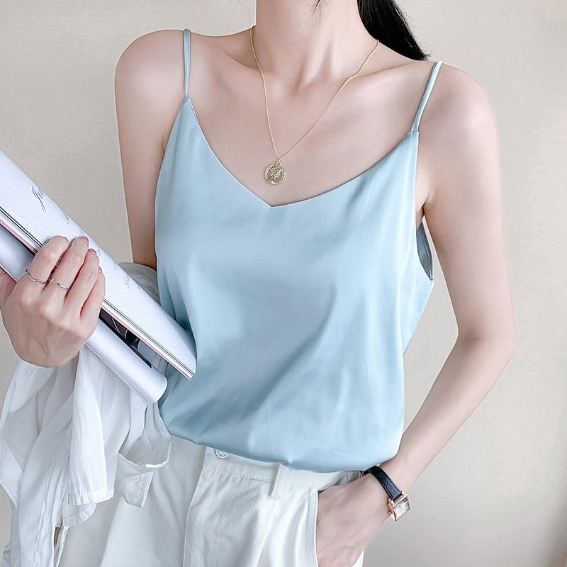 Sexy Women Strap Top V Neck Sleeveless Summer Satin Silk Tank Tops Seamless Spaghetti Halter Camisoles Plus size Underwear #F(China)