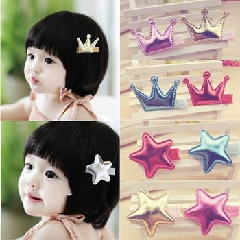 2 unids/lote nuevos accesorios para el cabello de la serie estrella de la corona de los niños brillantes encantadores Horquillas para el cabello para niñas en accesorios para el cabello de las mujeres