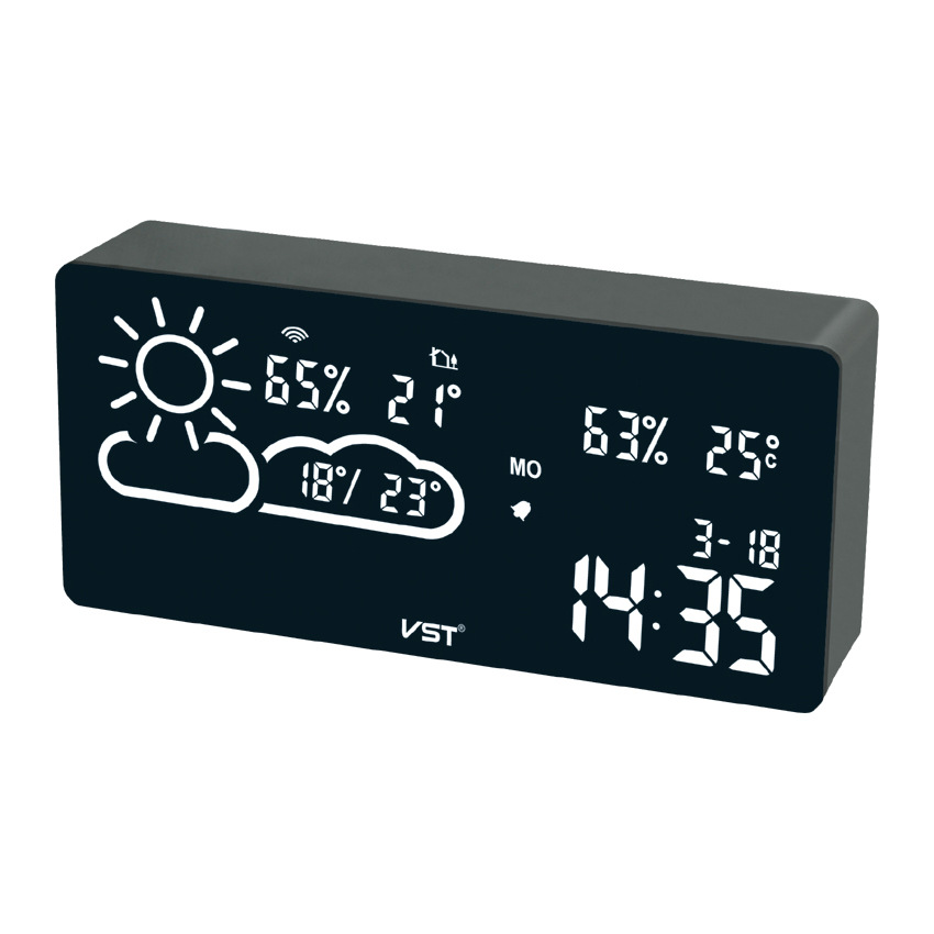 Alarm Clock And Humidity App Smart Wireless Connection Led Silent Snooze Electronic Wifi World Time Weather Forecast Temperature image