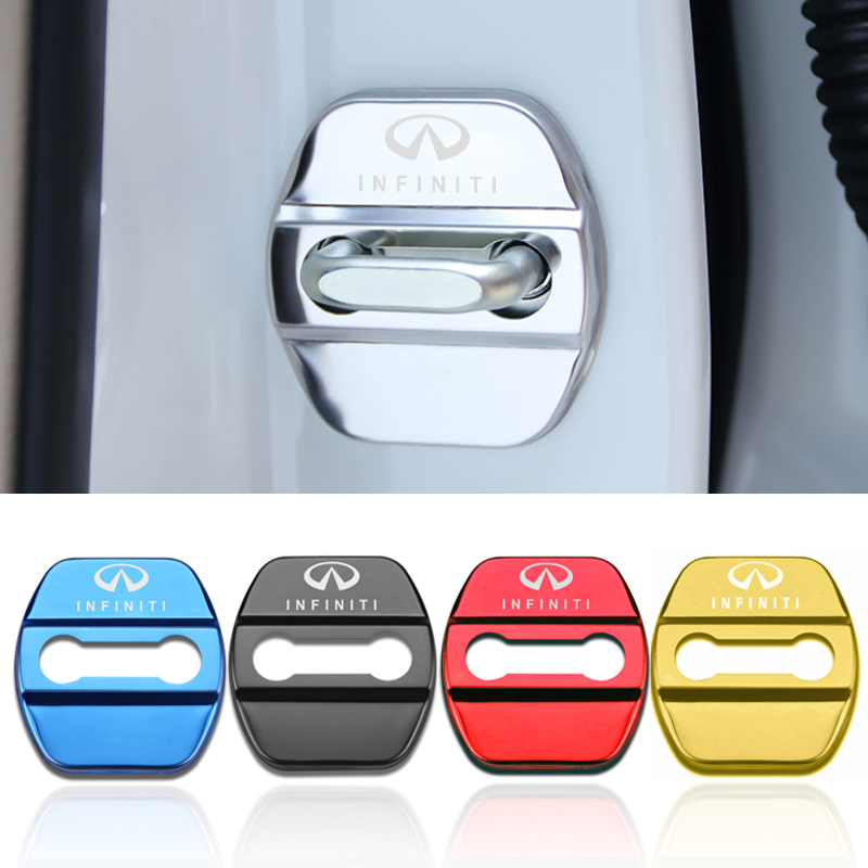 4pcs Car Styling Auto Door Lock Cover Car Sticker Case For Infiniti FX35 Q50 Q30 ESQ QX50 QX60 QX70 EX JX35 G35 G37 EX3