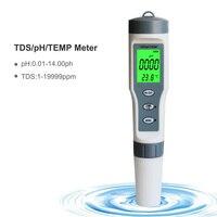 3 em 1 escala da medida do ph da elevada precisão tds/ph/temp 0-14 da pena do teste da qualidade da água para a detecção da casa da piscina & t8