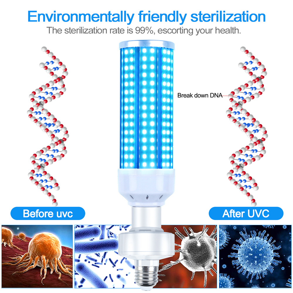 Купить с кэшбэком 60W AC85V-265V UV Disinfection Bulbs UV Germicidal Lamp E26/E27 Led UV-C Light Bulb Eliminate Viral Bacteria for Family Hotels