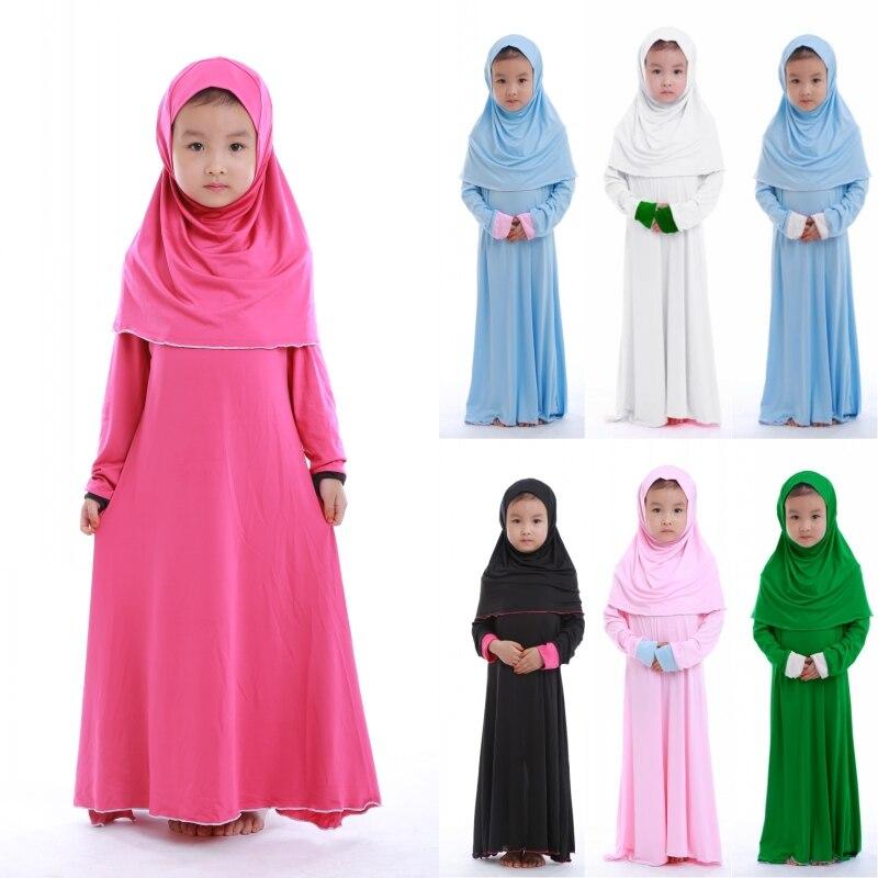 Мусульманское платье для молитвы для девочек, хиджаб Абая, халат, арабское, Дубай, дети, Рамадан, платок, мусульманский, Eid, вечерние