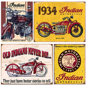 Indian Motorcycle Poster Vintage Metal Tin Plaque Retro Signs Plate Pub Bar Garage Home Wall Decor 20x30cm