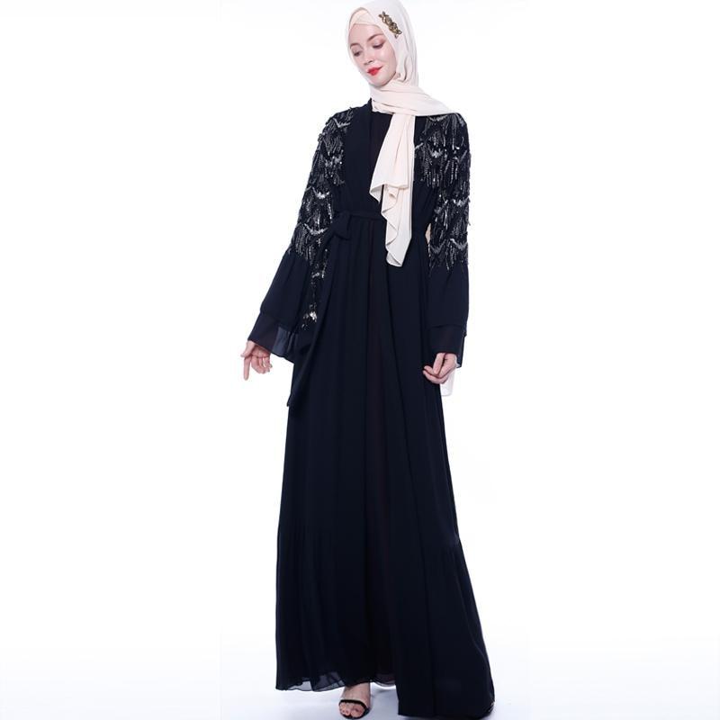 Paillettes gland femmes musulman ouvert Cardigan islamique Abaya caftan Kimono prière dame Maxi Robe Dubai Jilbab Ramadan Service de culte - 5
