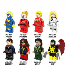 лучшая цена PG8065 Single Sale Building Blocks Bricks Super Heroes Havok Invisible Woman Fire Skull Commissioner Maes  Toys for children