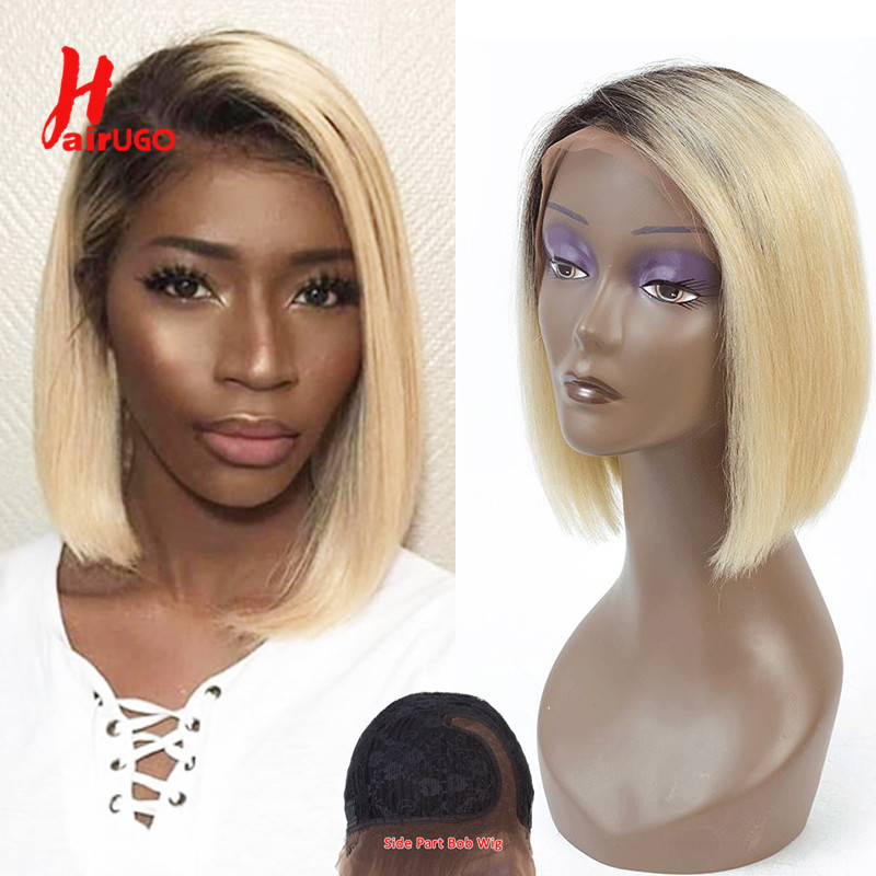 HairUGo T1B 613 Ombre Blonde Side Part Lace Wig Human Hair Wigs For Black Women Peruvian Remy Short Bob Straight Wig Pre Plucked