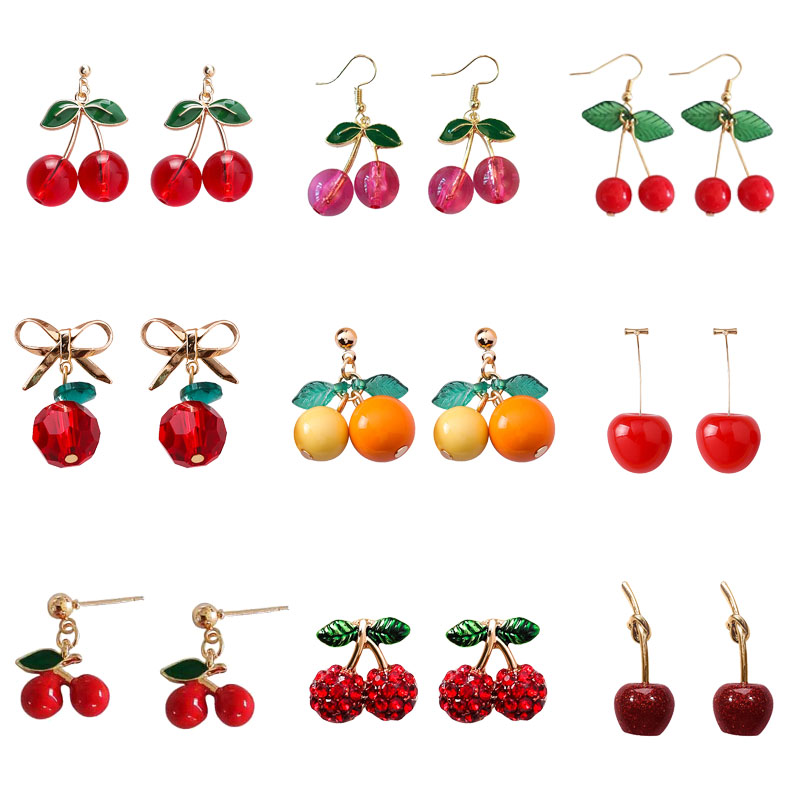 2020 Fashion New Sweet And Cute Cherry Earrings Creative Personality Red Fruit Cherry Pendant Earrings Temperament Wild Jewelry