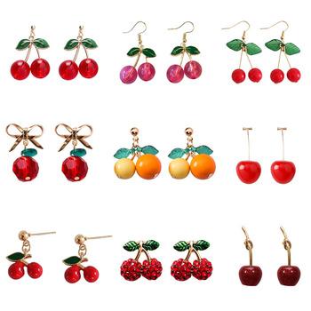2020 moda nowe słodkie i słodkie kolczyki w kształcie wiśni osobowość twórcza czerwone owoce Cherry wisiorek kolczyki Temperament dzika biżuteria tanie i dobre opinie XEDZ Ze stopu cynku TRENDY EHTZ kolczyki wiszące Jedzenie Metal