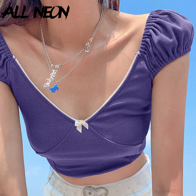 ALLNeon Sweet Y2K Ribbed V-neck Purple T-shirts E-girl Solid Lantarn Sleeve Cropped Tops Vintage Summer Scene Style Outfits New