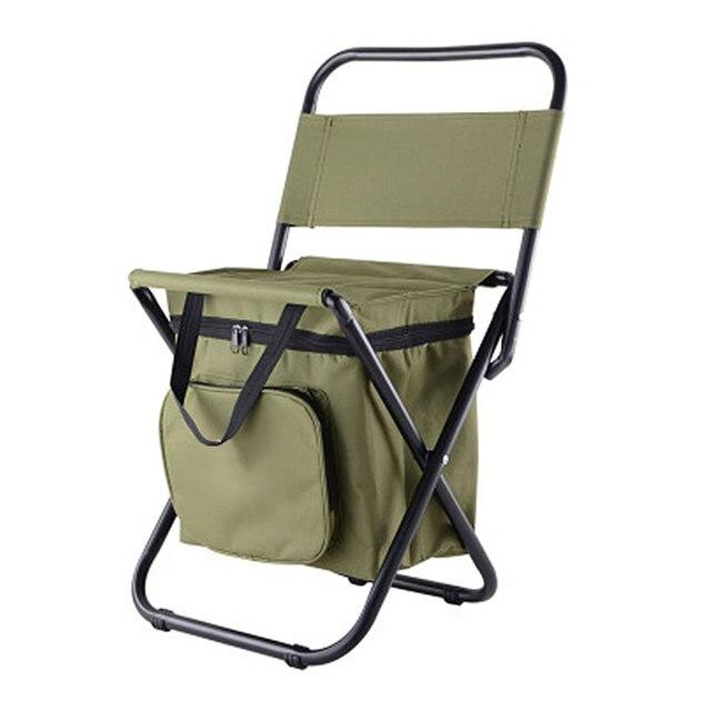 เก้าอี้ตกปลา Movable ตู้เย็นอุ่นเย็นแบบพกพาพับเก้าอี้ชายหาด 1350g ที่นั่งเบาะ 100kg เก้าอี้พับสตูล