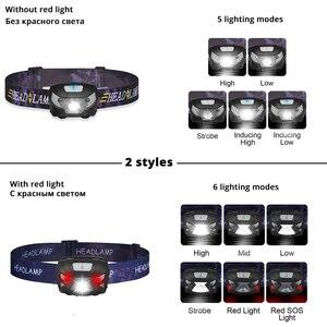 Image 2 - Mini şarj edilebilir LED far vücut hareket sensörlü LED bisiklet başkanı işık lambası açık kamp el feneri USB portu ile