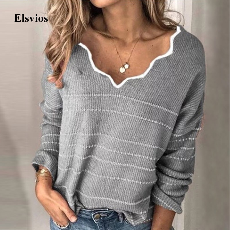 Autumn Winter Long Sleeve Sweaters Women Elegant Sexy V-neck Wave Knitted Sweater Casual Warm Striped Knit Pullover Tops Jumpers