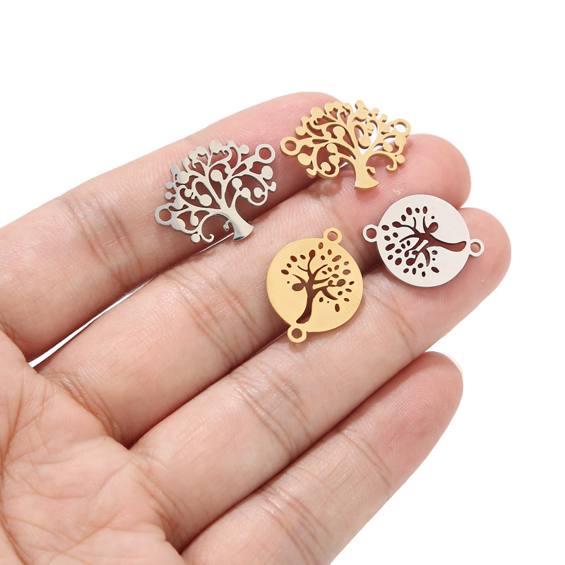 10pcs Tree Leaf Bracelets Connectors Stainless Steel 15mm Gold Charm Connector DIY Bracelet Jewelry Making Accessories
