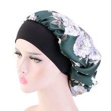 Gorros de cetim para mulheres preto largo elástico banda floral impressão de seda headwrap senhoras capa de cabelo chapéu noite dormir boné