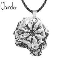 Chandler collares vikingos Aegishjalmr timón de asombro protección runa colgante nórdico Odin/Norte/escandinavo Medieval/magia Colier