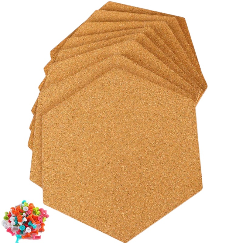 8Pcs Hexagon Self Adhesive Cork Tiles with 50 Push Pins for Wall Bulletin Boards Pictures Office Memo and Home Decor