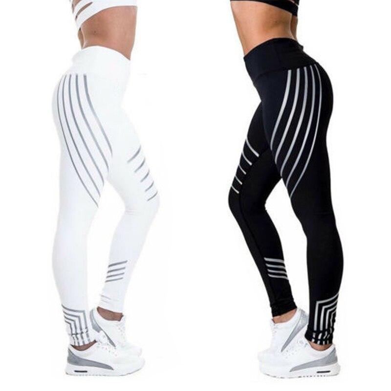 New Women Black White Stretch Pencil Pants Striped Fitness Leggins Slim Running Sports Pant Female Elastic Long Skinny Leggin