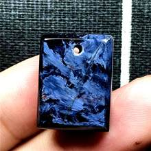 Top Natural Blue Pietersite Necklace Pendant For Woman Man Rectangle Crystal 19x15x6mm Beads Silver Firework Stone Jewelry AAAAA(China)
