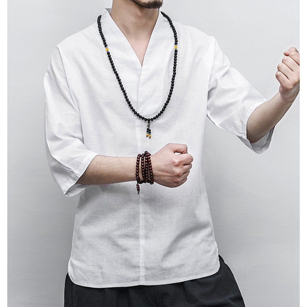 Men Shirt Vintage Ancient Chinese Male Blouse Kung Fu Style Cotton Linen 3/4 Sleeve V Neck Loose Leisure Solid Shirt Men Tops