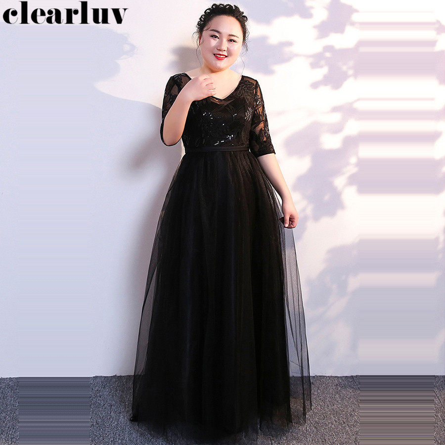 Evening Dress 2019 Plus Size Black Chiffon Robe De Soiree T362 Sequins Embroidery Women Party Dresses Vintage V-neck Formal Gown