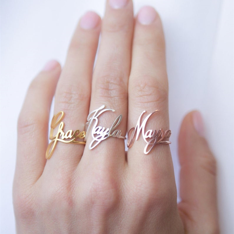 Custom Name Ring Personalized Gift For Her Mom Rings Stainless Steel Adjustable Bague Cursive Name Anilos 2019