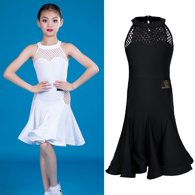 New Latin Dance Dress Children White Net Dance Dress Girl Dancing Outfit Performance Dance Costume Kids Dresses For Girls BL2451