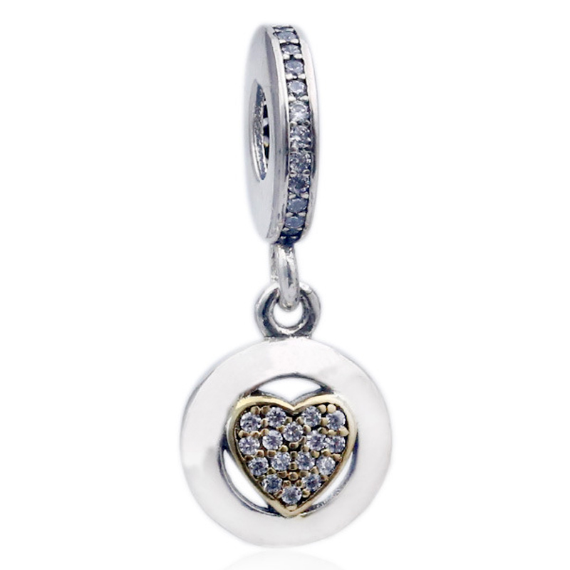 New 925 <font><b>Sterling</b></font> <font><b>Silver</b></font> Bead Charm <font><b>Pan</b></font> Signature Gold Love Heart With Crystal Pendant Beads Fit Pandora <font><b>Bracelet</b></font> Diy Jewelry image