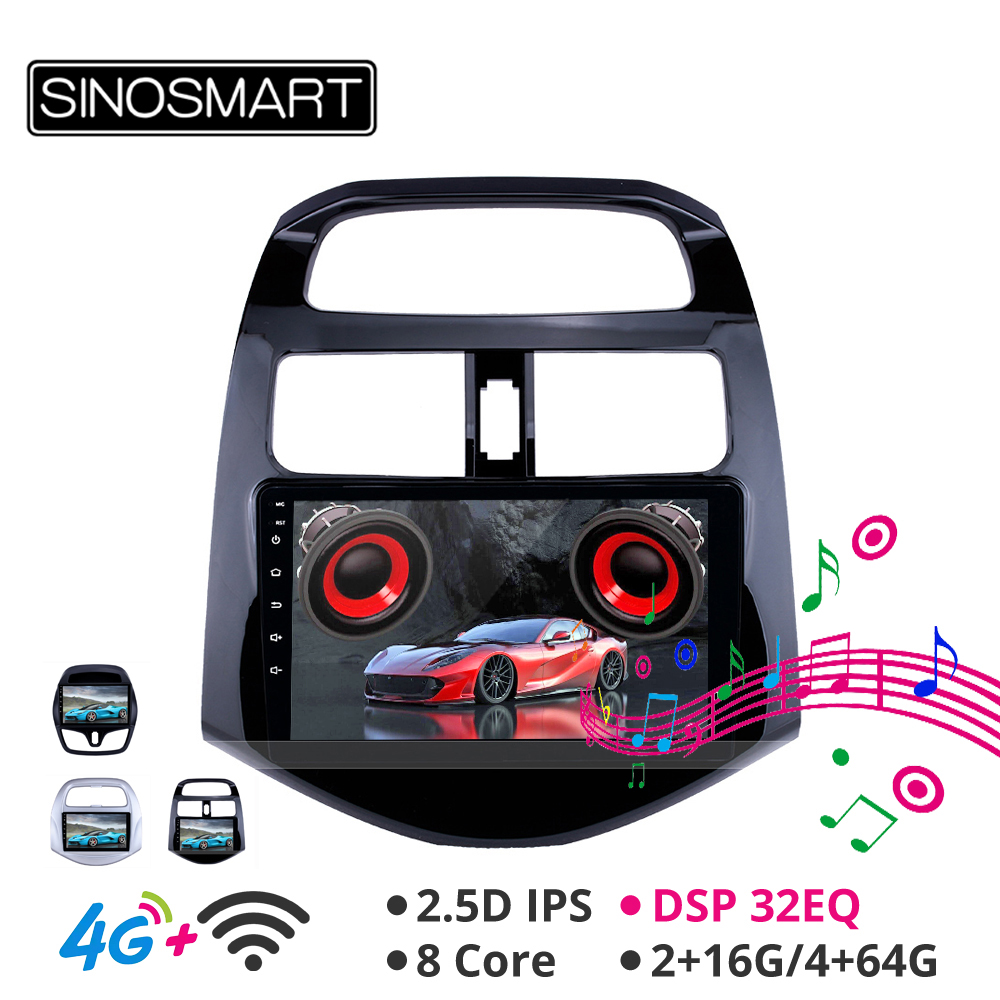 Sinosmart Android 8.1 Car GPS Navigation Radio for <font><b>Chevrolet</b></font> <font><b>Spark</b></font> 2015 2016 <font><b>2017</b></font> 2011-2018 2din 2.5D IPS/QLED Screen image